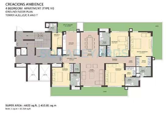 Floor plan for 4BHK