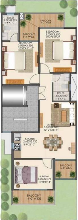 Floor Plan For 3BHK
