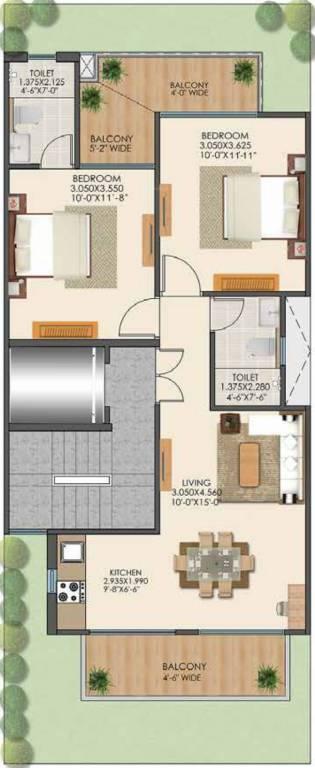 Floor Plan For 2BHK