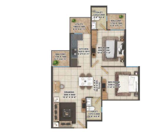 2BHK Floor Plan